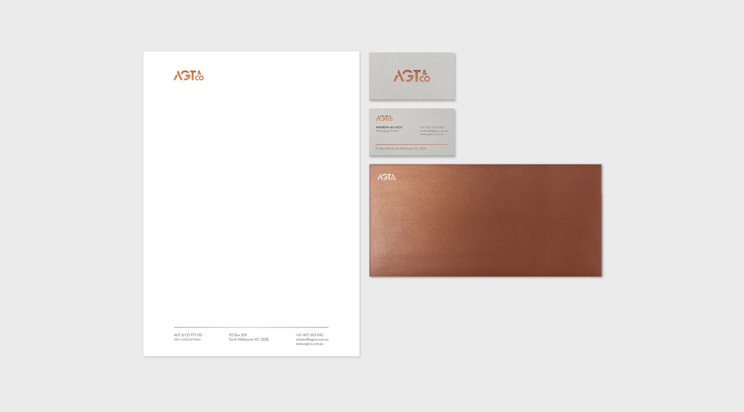 agt co stationery top view