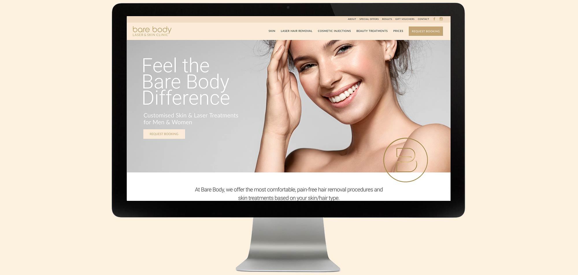 bare body website on desktop