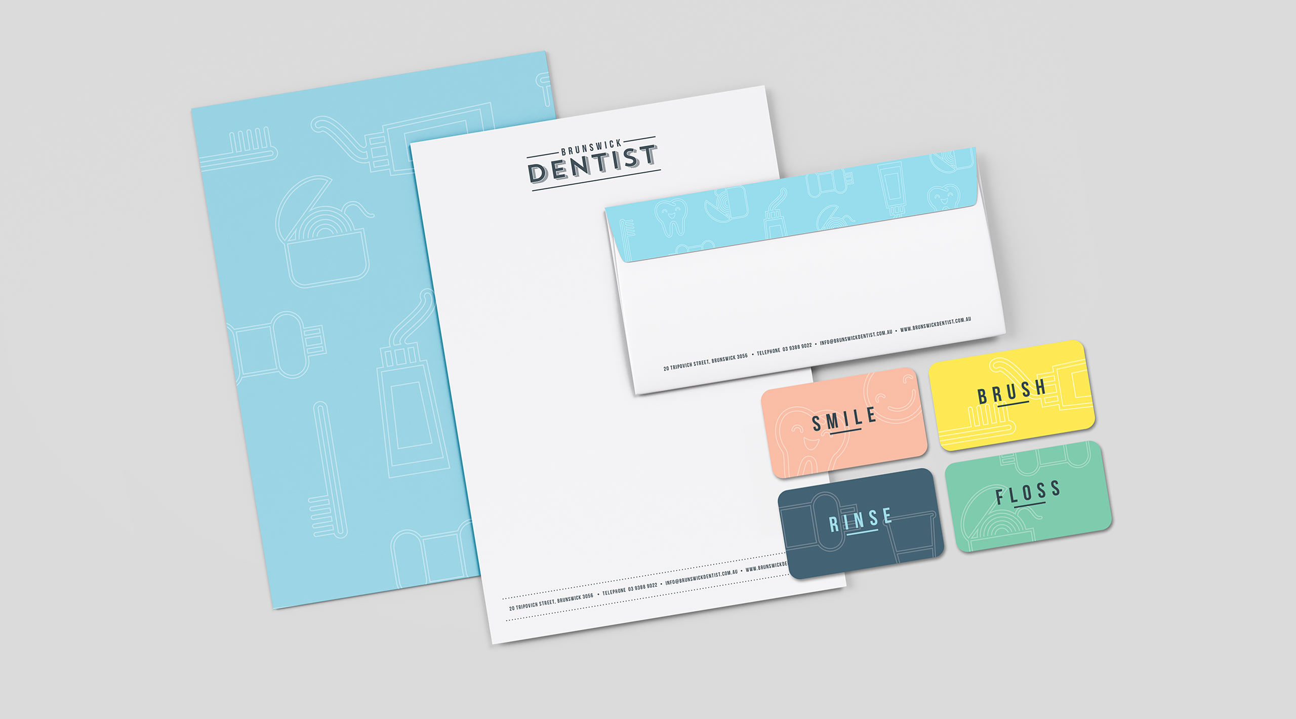 brunswick dentist branding stationery