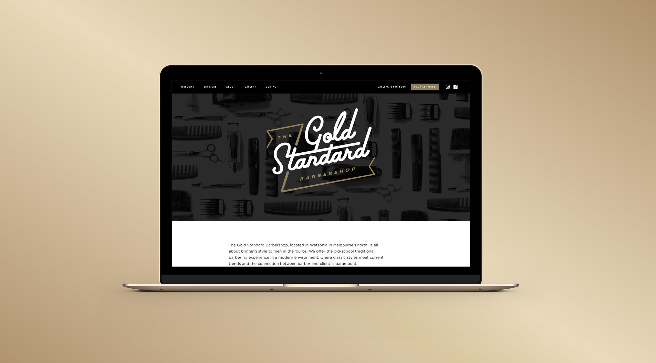 the gold standard barbershop website laptop