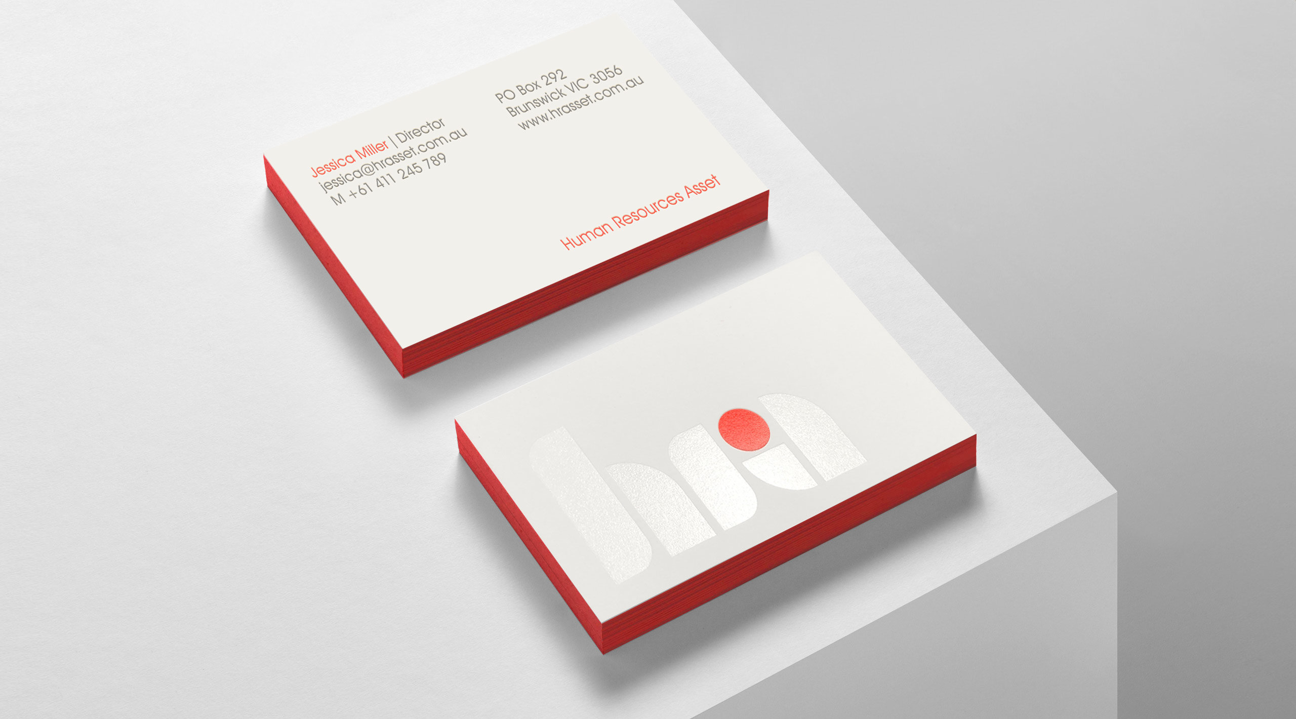 hr asset business cards on ledge